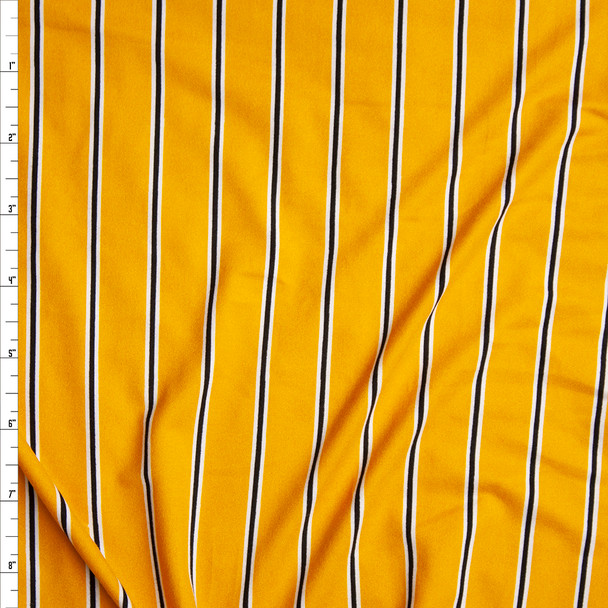 Black and White Narrow Vertical Stripe on Goldenrod Yellow Double Brushed Poly Spandex Fabric By The Yard