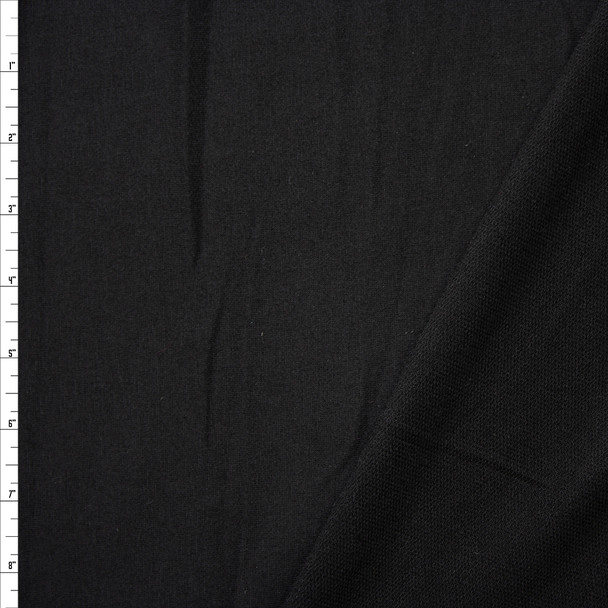 Black Lightweight Poly/Rayon French Terry Fabric By The Yard