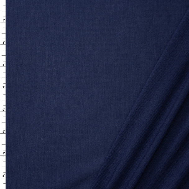 Navy Blue Lightweight Poly/Rayon French Terry Fabric By The Yard