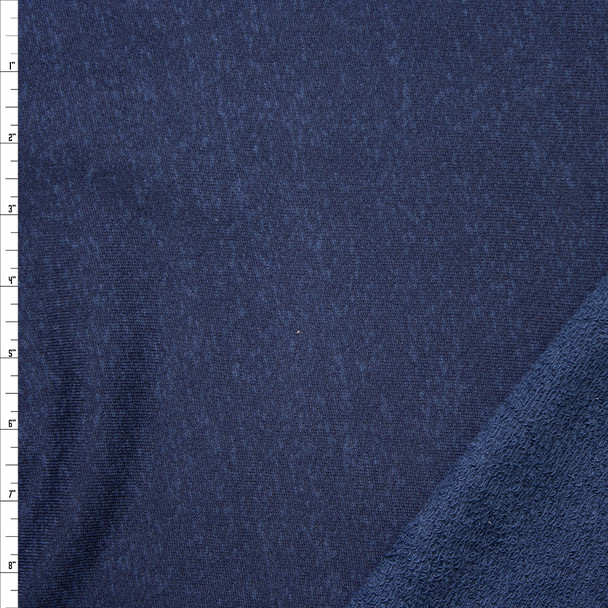 Navy Blue Heather Cotton French Terry Fabric By The Yard