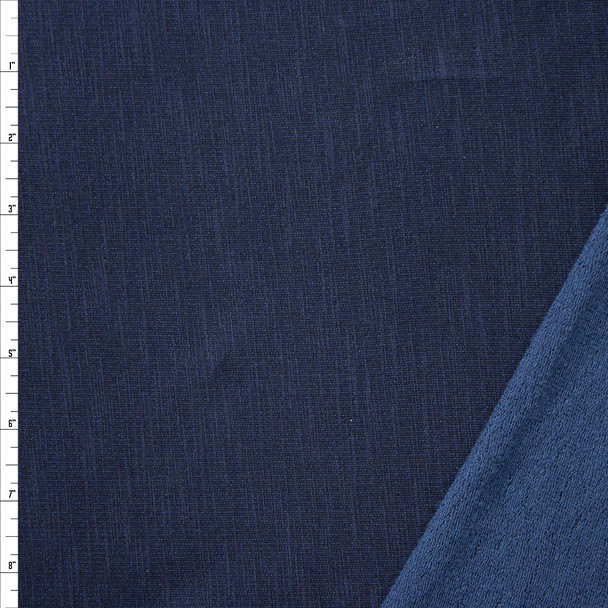 Navy Blue Soft Stretch French Terry Fabric By The Yard