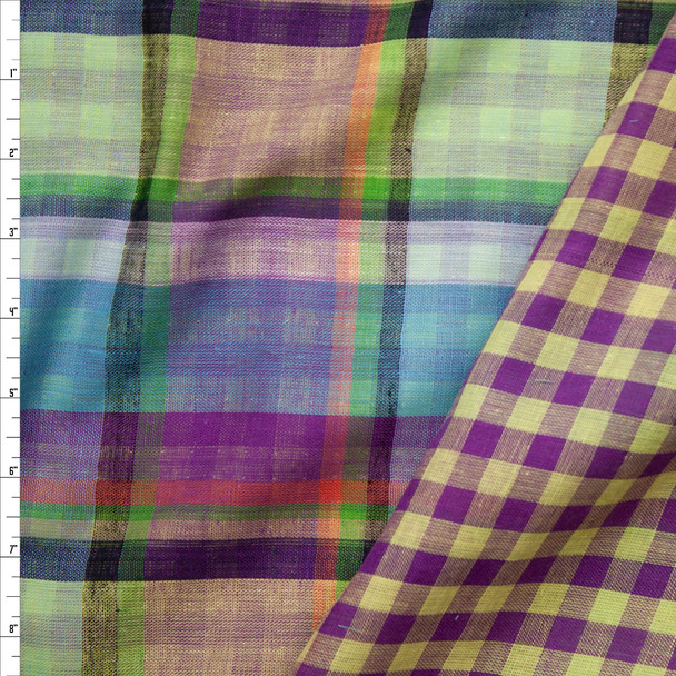 Springtime in the Bayou Reversible Plaid Lightweight Double Gauze Fabric By The Yard