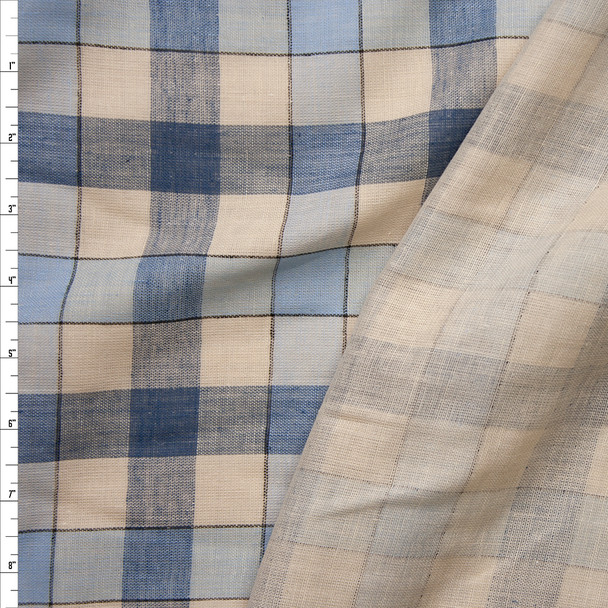 Blue and Ivory Plaid Reversible Lightweight Double Gauze Fabric By The Yard
