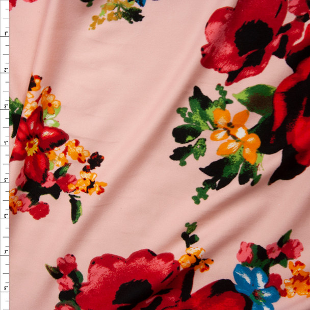 Bright Red, Blue, Green, and Yellow Floral on Blush Double Brushed Poly Spandex Fabric By The Yard