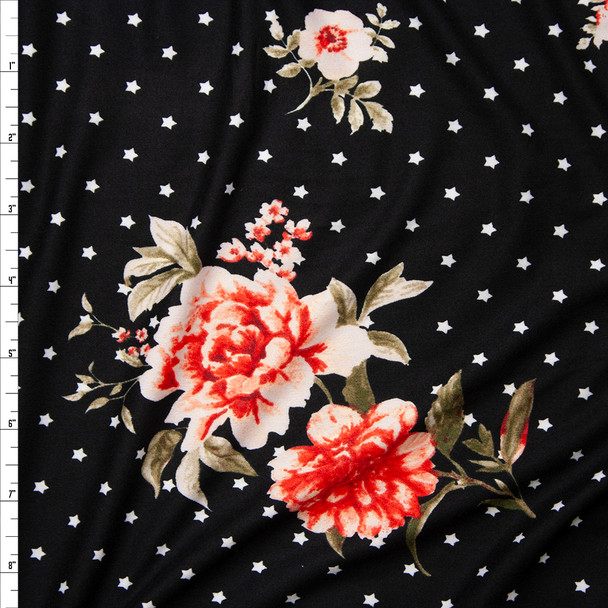 Red and Pink Rose Floral on a Background of White Stars on Black Double Brushed Poly Spandex Fabric By The Yard