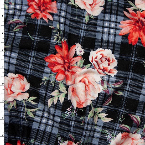 Red and Pink Rose Floral on a Black and Grey Plaid Double Brushed Poly Spandex Fabric By The Yard