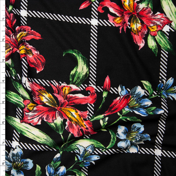 Sketchbook Daffodil Floral on Black and White Plaid Double Brushed Poly Spandex Fabric By The Yard