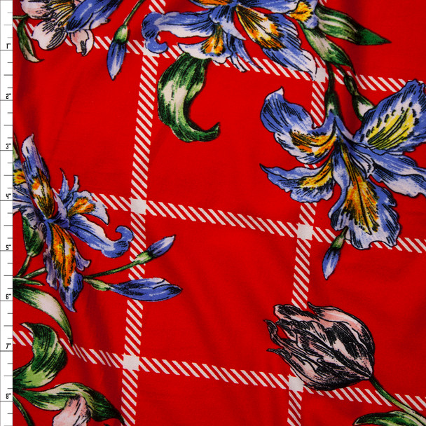 Sketchbook Daffodil Floral on Red and White Plaid Double Brushed Poly Spandex Fabric By The Yard