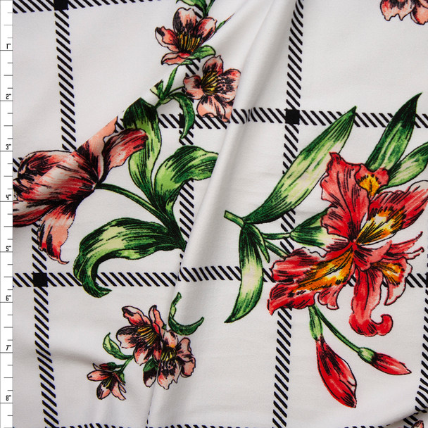 Sketchbook Daffodil Floral on White and Black Plaid Double Brushed Poly Spandex Fabric By The Yard