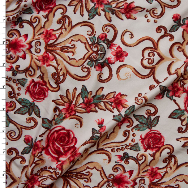 Pink Roses and Gold Scrollwork on Ivory Double Brushed Poly Spandex Fabric By The Yard