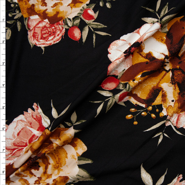 Gold, Pink, and Tan Floral Clusters on Black Double Brushed Poly Spandex Fabric By The Yard