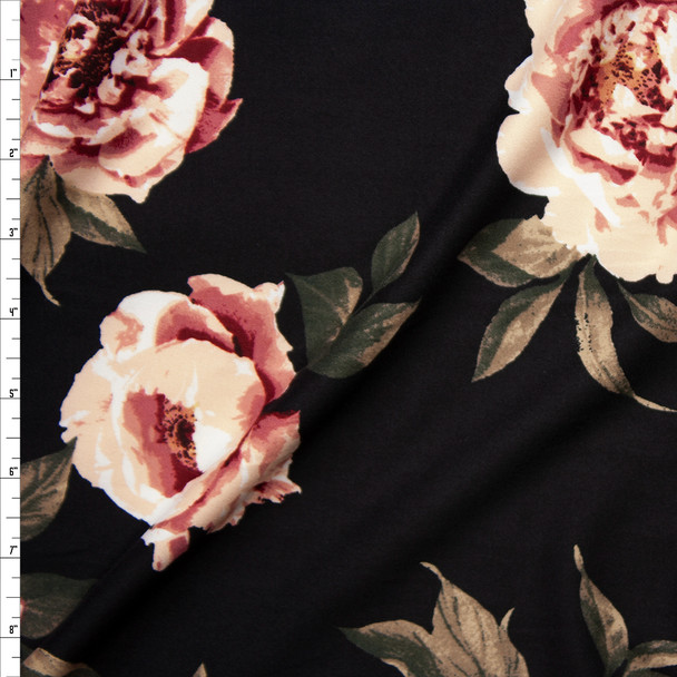 Pink Roses on Black Double Brushed Poly Spandex Fabric By The Yard