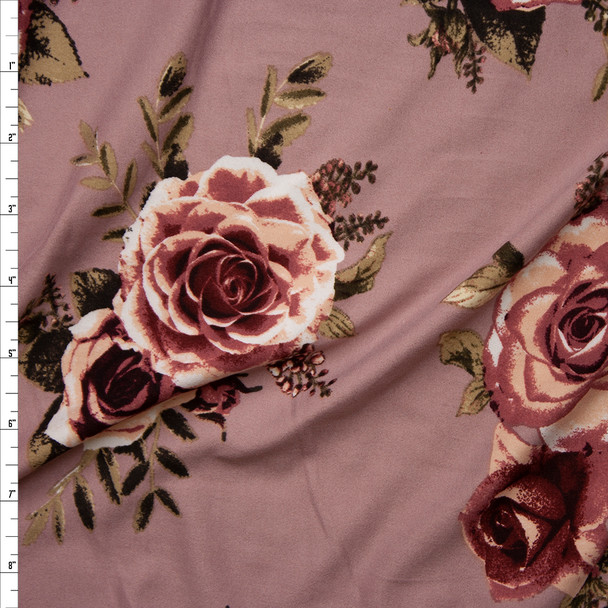 Dusty Rose Flowers on Light Mauve Double Brushed Poly Spandex Fabric By The Yard