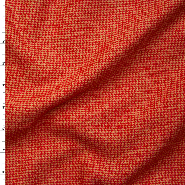 Red and Gold Houndstooth Cotton Flannel from 'Robert Kaufman' Fabric By The Yard