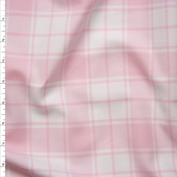 Pink and White Plaid Cotton Flannel from 'Robert Kaufman' Fabric By The Yard