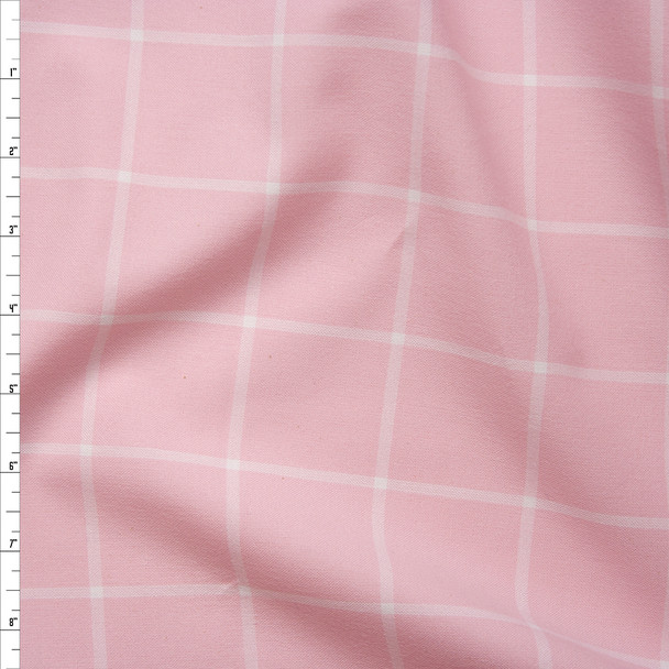 Pink and White Windowpane Plaid Cotton Flannel from 'Robert Kaufman' Fabric By The Yard