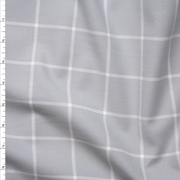 Grey and White Windowpane Plaid Cotton Flannel from 'Robert Kaufman' Fabric By The Yard