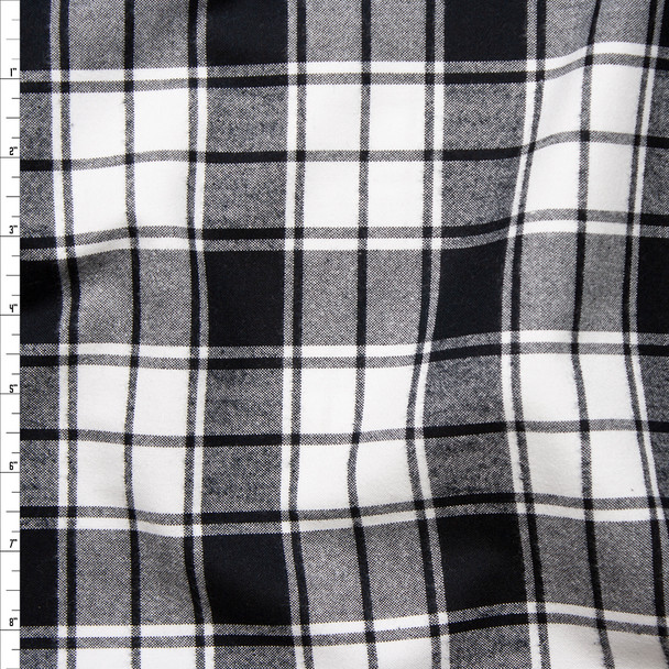 Black and White Plaid Cotton Flannel from 'Robert Kaufman' Fabric By The Yard