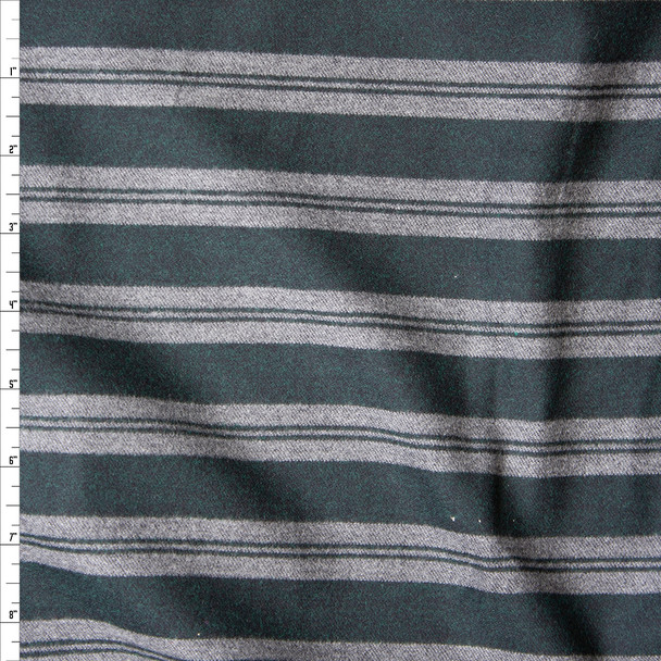 Dark Hunter Green and Charcoal Stripe Midweight Cotton Flannel Fabric By The Yard
