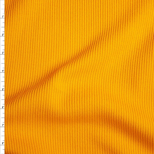 Goldenrod Yellow Heavyweight Stretch Ribbed Knit Fabric By The Yard