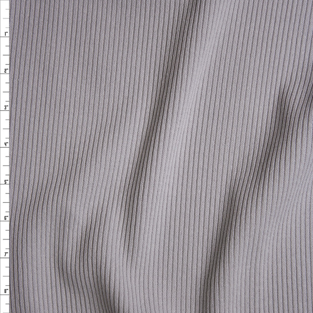 Light Grey Heavyweight Stretch Ribbed Knit Fabric By The Yard