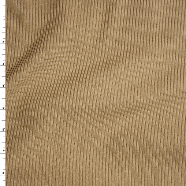 Tan Heavyweight Stretch Ribbed Knit Fabric By The Yard