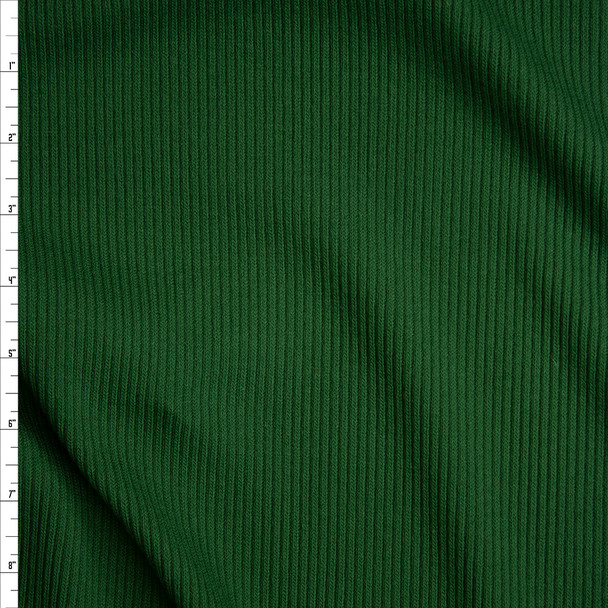 Hunter Green Heavyweight Stretch Ribbed Knit Fabric By The Yard