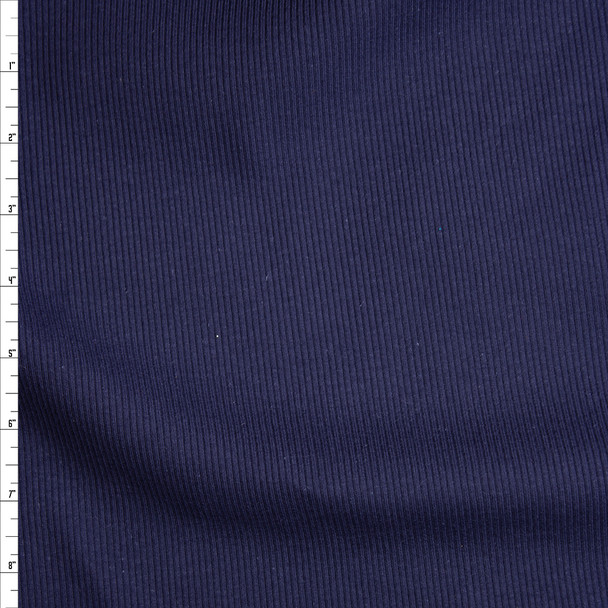 Navy Blue Heavyweight Stretch Ribbed Knit Fabric By The Yard