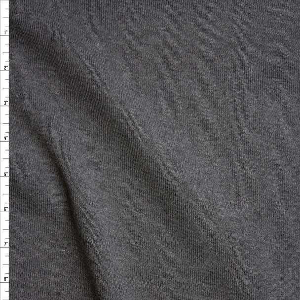 Charcoal Heather Grey Heavyweight Ribbing Fabric By The Yard