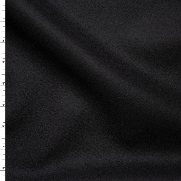 Black Solid Wool Coating Fabric By The Yard