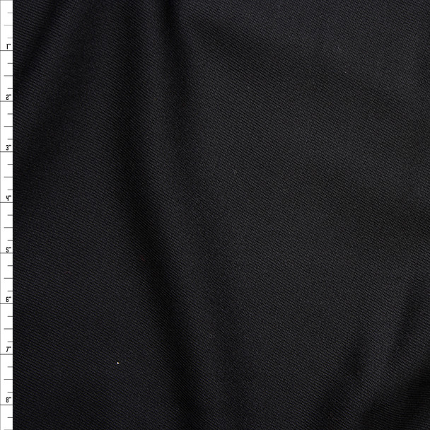 Black Midweight Wool Gabardine Fabric By The Yard