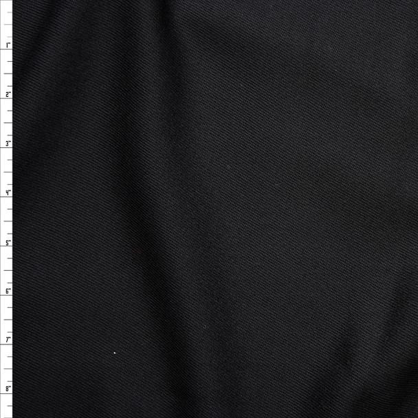Black Midweight Wool Gabardine Fabric By The Yard