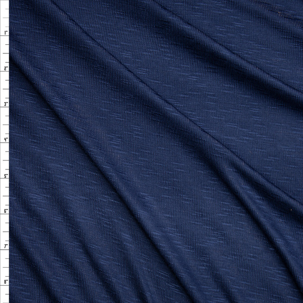 Navy Blue Stretch Slubbed Micro Rib Knit Fabric By The Yard