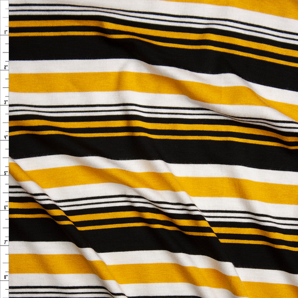 Yellow, Black, and White Horizontal Stripe Stretch Rayon Jersey Knit Fabric By The Yard