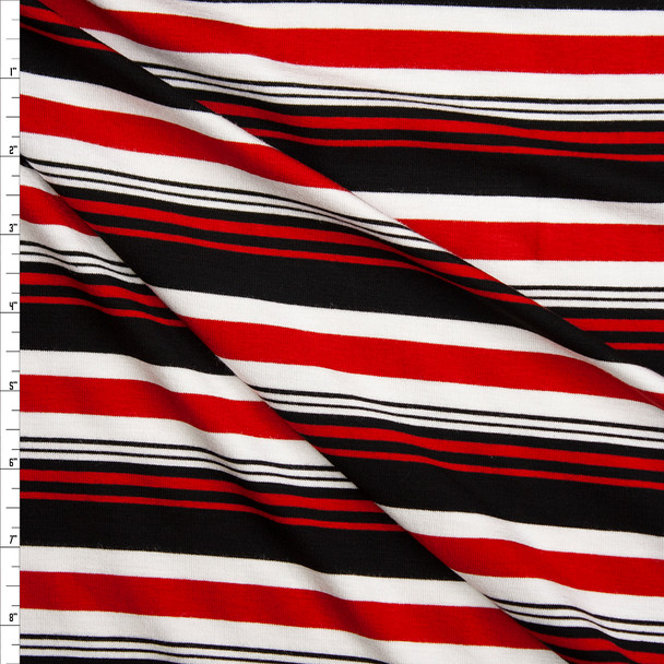 Red, Black, and White Horizontal Stripe Stretch Rayon Jersey Knit Fabric By The Yard