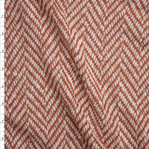 Rust and White Horizontal Chevron Loose Weave Sweater Knit Fabric By The Yard