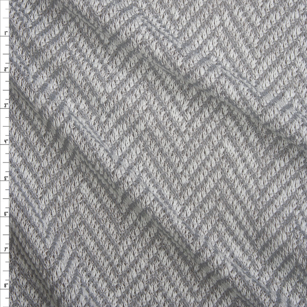 Light Grey and White Horizontal Chevron Loose Weave Sweater Knit Fabric By The Yard