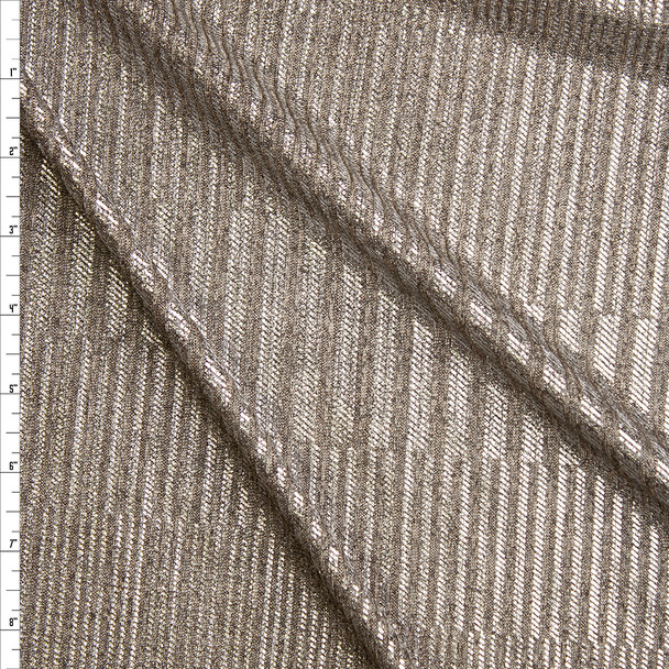Silver Stripe Pattern on Warm Heather Grey Stretch Ribbed Knit Fabric By The Yard