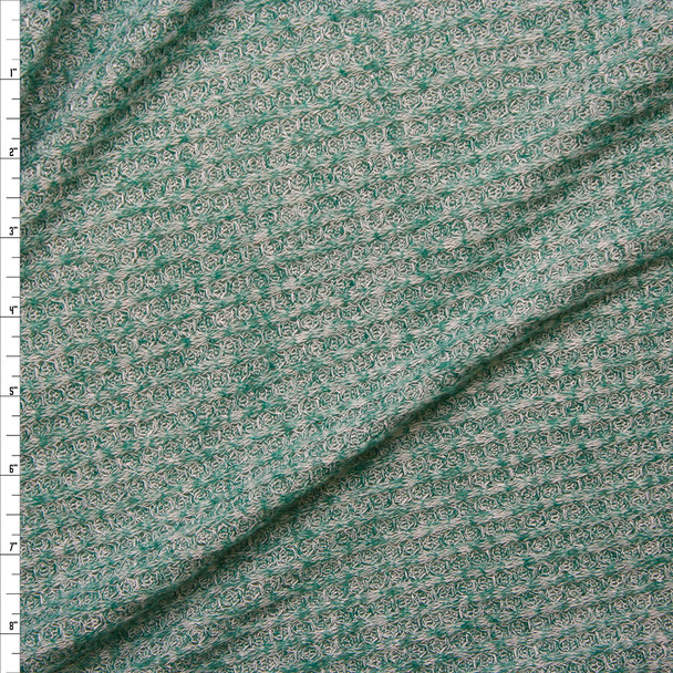 Heather Seafoam Green Soft Waffle Sweater Knit Fabric By The Yard