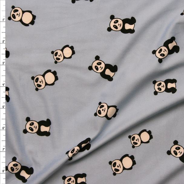 Black and White Pandas on Light Blue Double Brushed Poly/Spandex Knit Fabric By The Yard