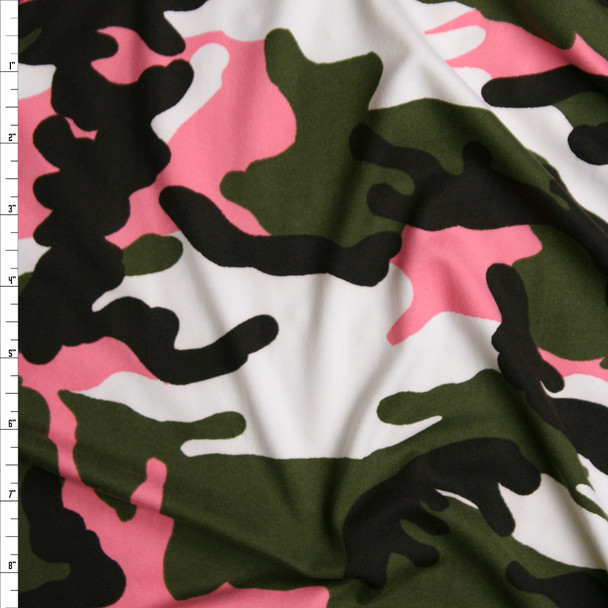 Olive, Black, White, and Neon Pink Camouflage Double Brushed Poly/Spandex Knit Fabric By The Yard