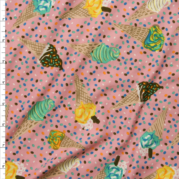 Ice Cream Cones and Sprinkles on Pink Double Brushed Poly/Spandex Knit Fabric By The Yard