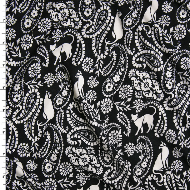 Offwhite Cats and Paisleys on Black Double Brushed Poly/Spandex Knit Fabric By The Yard