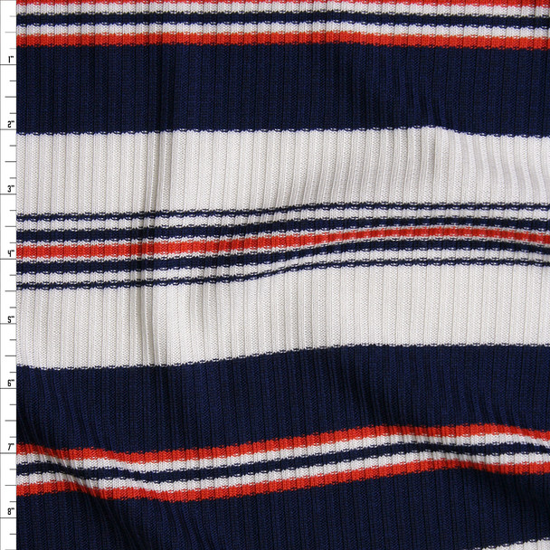 Navy, White, and Orange Horizontal Stripe Ribbed Sweater Knit Fabric By The Yard
