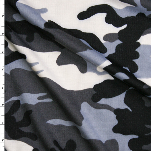 Black, White, and Grey Camouflage French Terry Fabric By The Yard