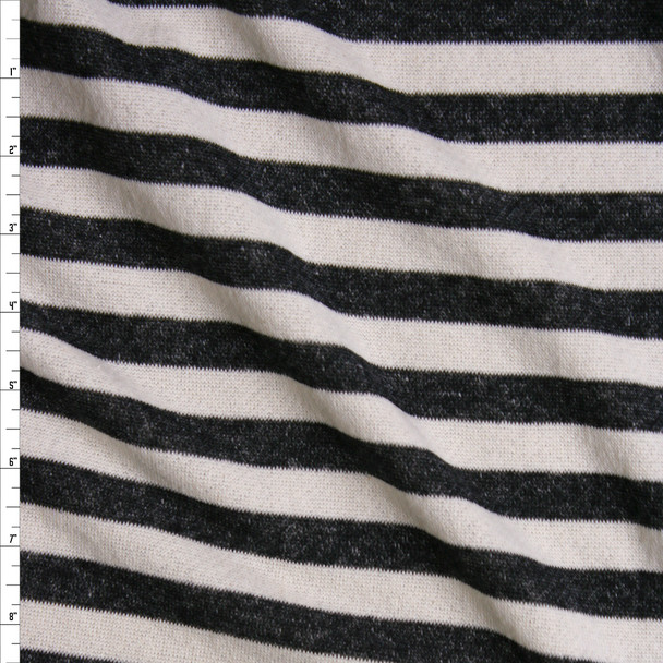 Grey and Offwhite Horizontal Stripe Cotton French Terry Fabric By The Yard