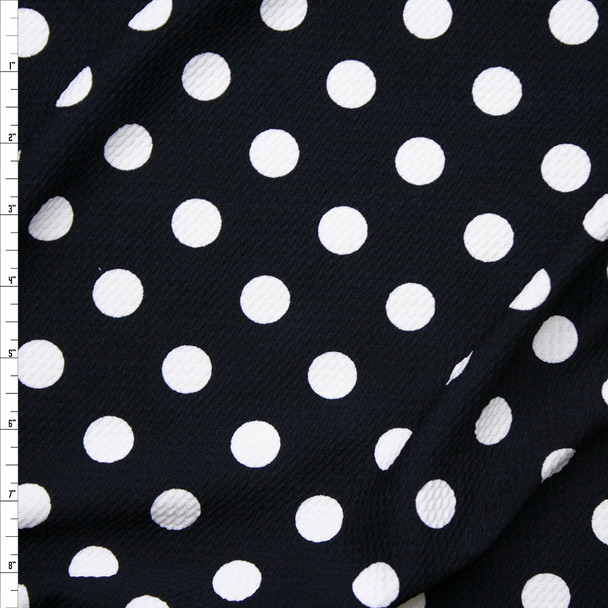 White on Dark Midnight Blue Polka Dots Liverpool Knit Fabric By The Yard