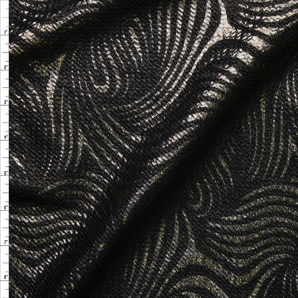 Swirling Bronze Metallic on Black Liverpool Knit Fabric By The Yard