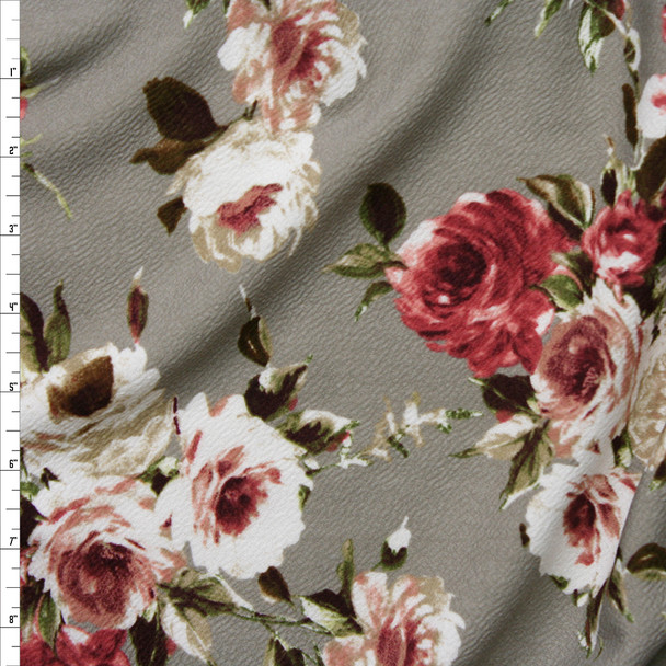 Sage, Rose, and Ivory Floral on Taupe Liverpool Knit Fabric By The Yard