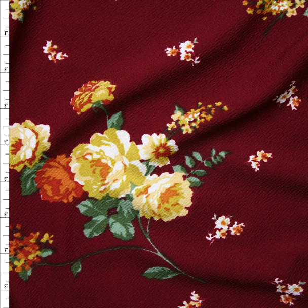 Mustard, Green, and Orange Floral on Burgundy Liverpool Knit Fabric By The Yard